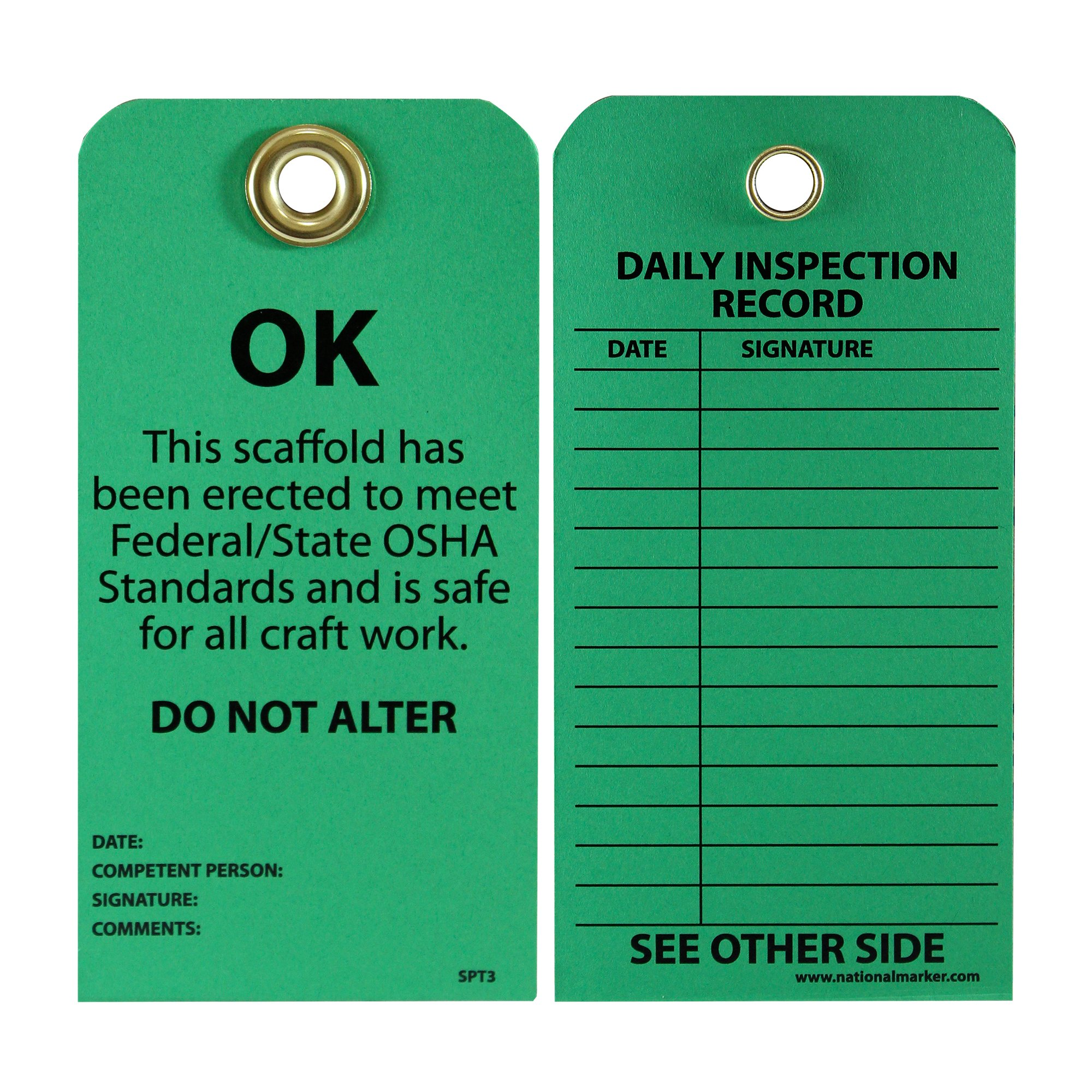 NMC SPT3 Accident Prevention Tag, ''OK - This Scaffold Meets OSHA Standards and Is Safe,'' 6'' Height x 3'' Width, Cardstock, Green by NMC
