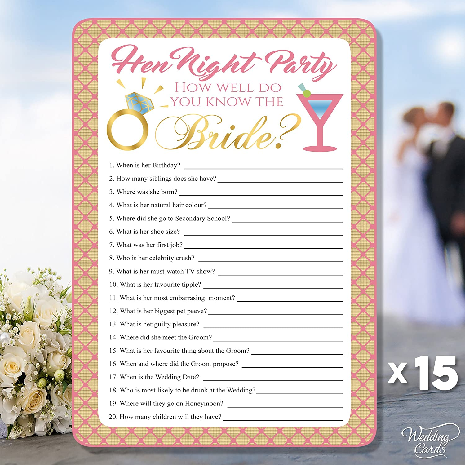 15 x Quiz Sheets How Well Do You Know The Bride Hen Night Party Game Team Bride