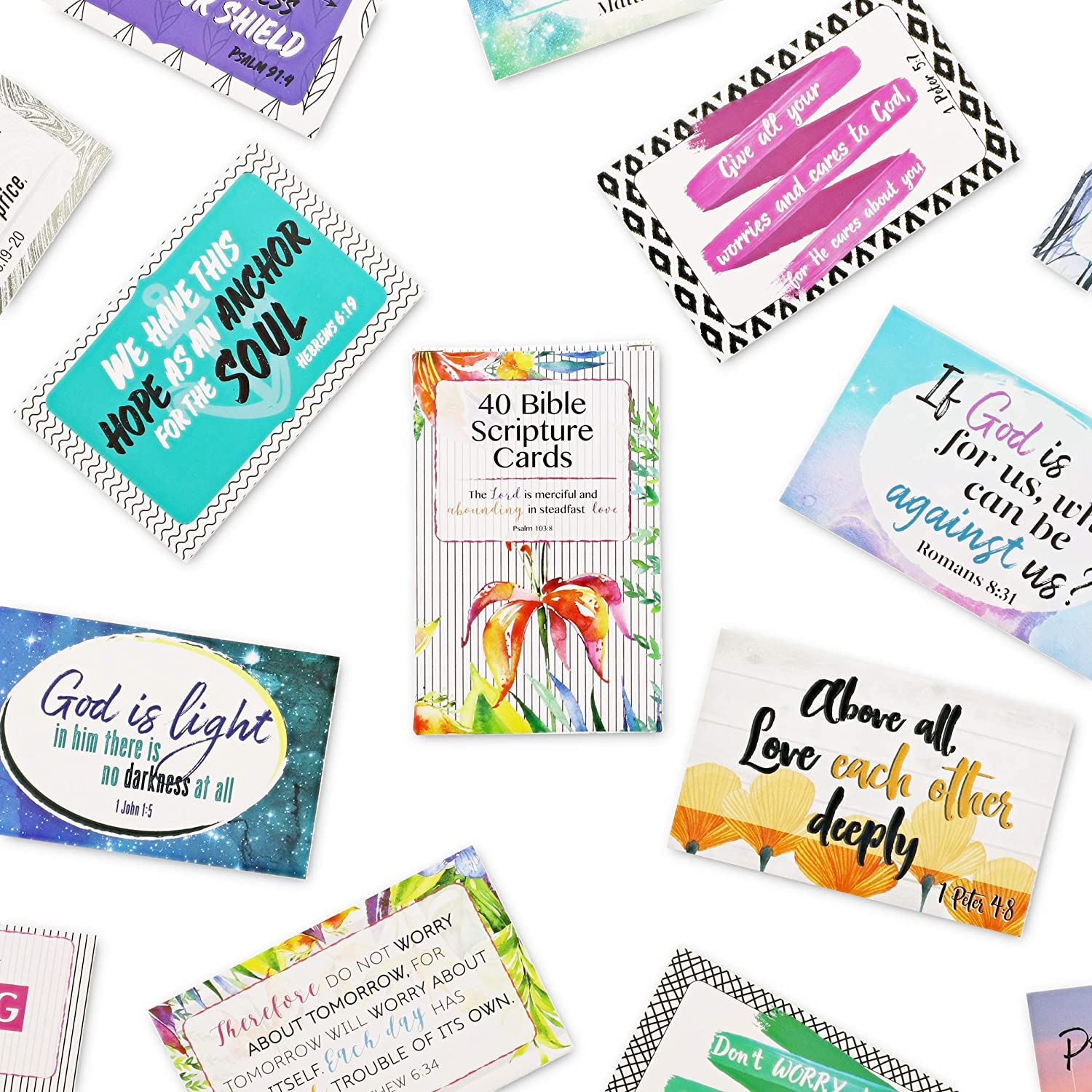 Bible Verse Cards, Scripture Quotes Inspirational Prayer Cards (3.3 x 2.1 In, 40-Pack)