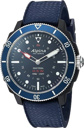 Alpina Mens AL-282LNN4V6 Horological Smart Watch Analog Display Quartz Blue Watch
