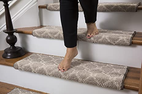 High Quality Parterre Wool Inspired Bullnose Carpet Stair Tread With Adhesive Padding,  Color   Chantilly, By