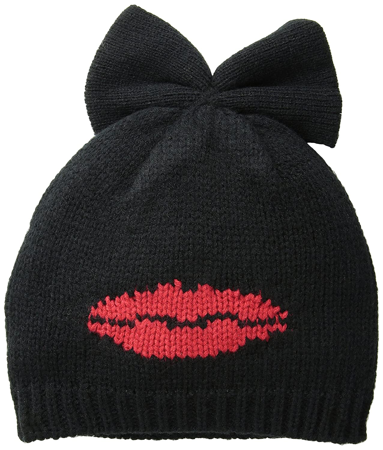 Betsey Johnson Womens Kiss and Tell Bow Beanie Red One Size Betsey Johnson Womens Accessories BJ18099-600