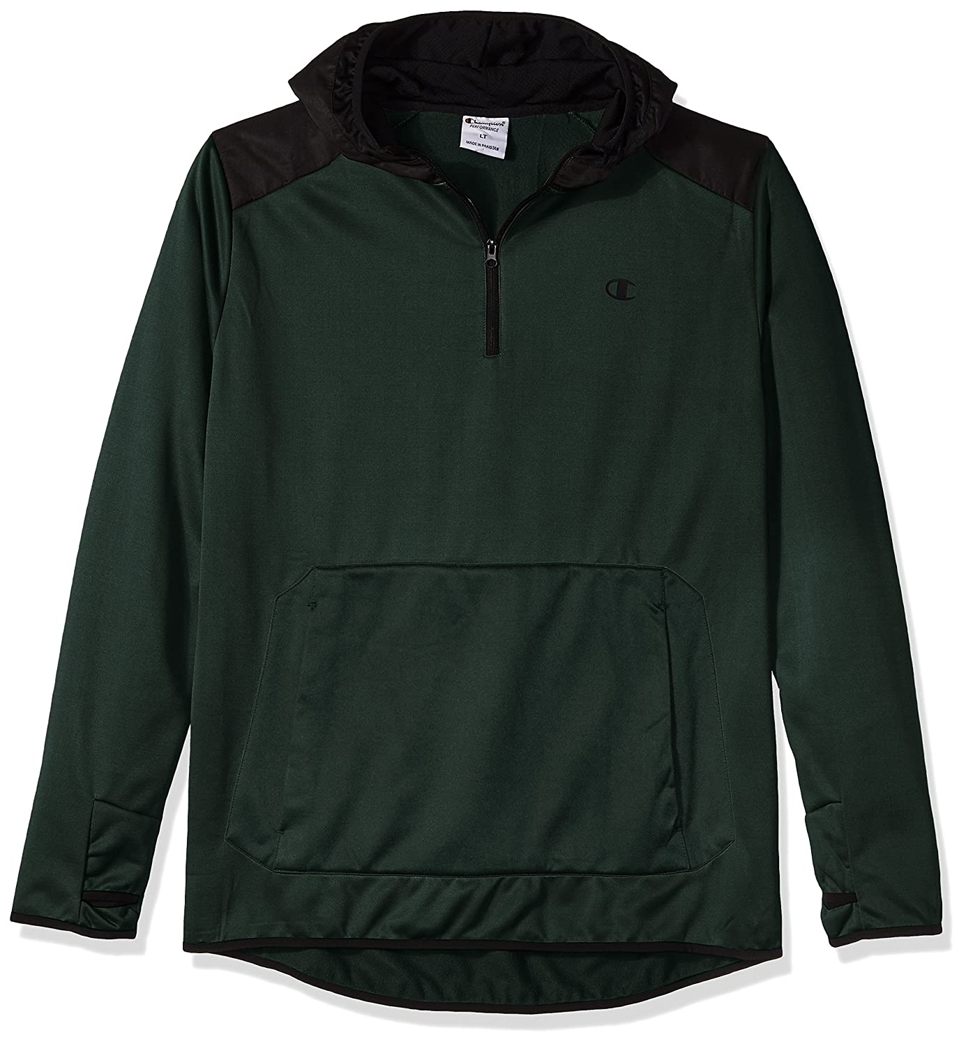 Champion Men's Big and Tall Poly Po Hood with Contrast Sleeve Zip Pouch CH234AM