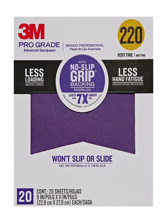 3M Pro Grade No-Slip Grip Advanced Sandpaper, 9 X 11-Inches, 220 Grit, 20/Pack