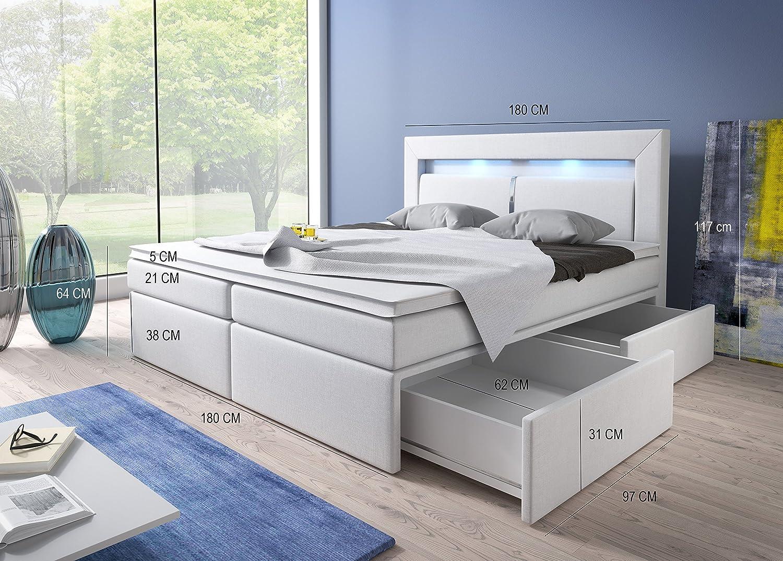 Boxspringbett weiß mit bettkasten  Wohnen-Luxus Boxspringbett 180x200 Weiß mit Bettkasten LED Kopflicht ...