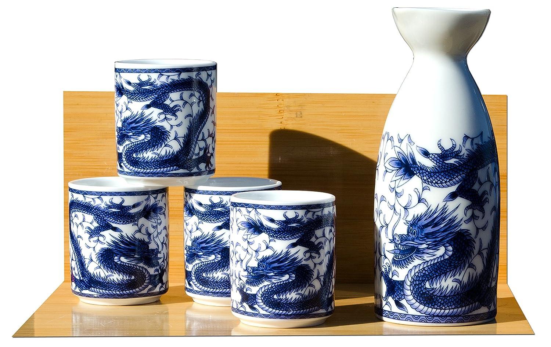 Dragon Service à saké 4tasses sur blanc–Japonais Gifts Of The Orient GOTO