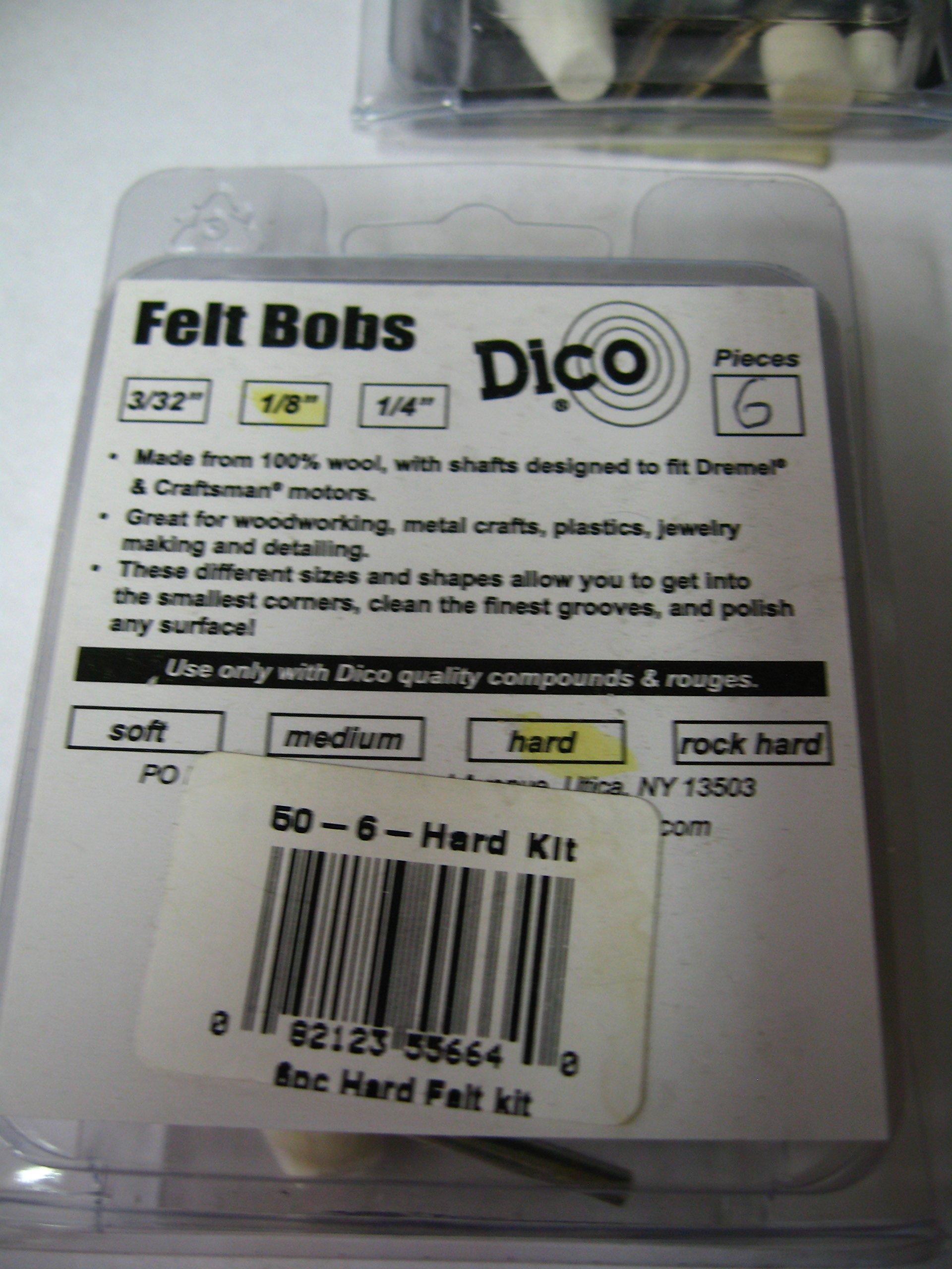 (6-packs of 6) Dico Products Rotary Tool Felt Bobs Assortment (36 Pcs) 1/8 ''