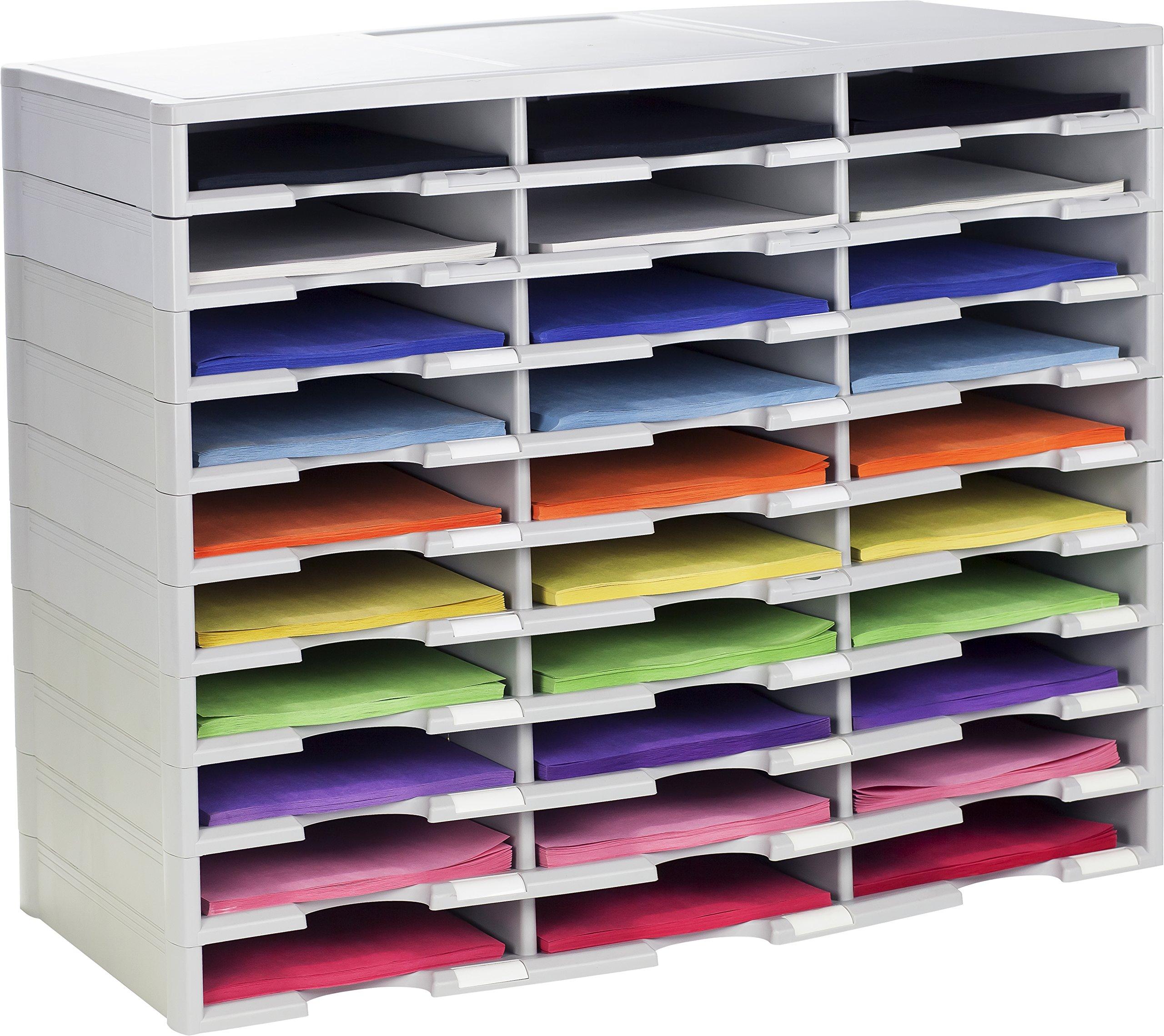 Storex 30-Compartment Literature Organizer, 31.38 x 14.13 x 25.5 Inches, Gray (61418U01C)