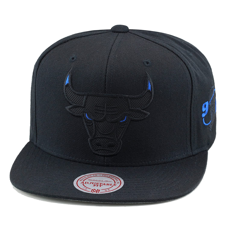 Mitchell   Ness Chicago Bulls Snapback Hat Black Blue Eye Ballistic Nylon  at Amazon Men s Clothing store  f3032b89763