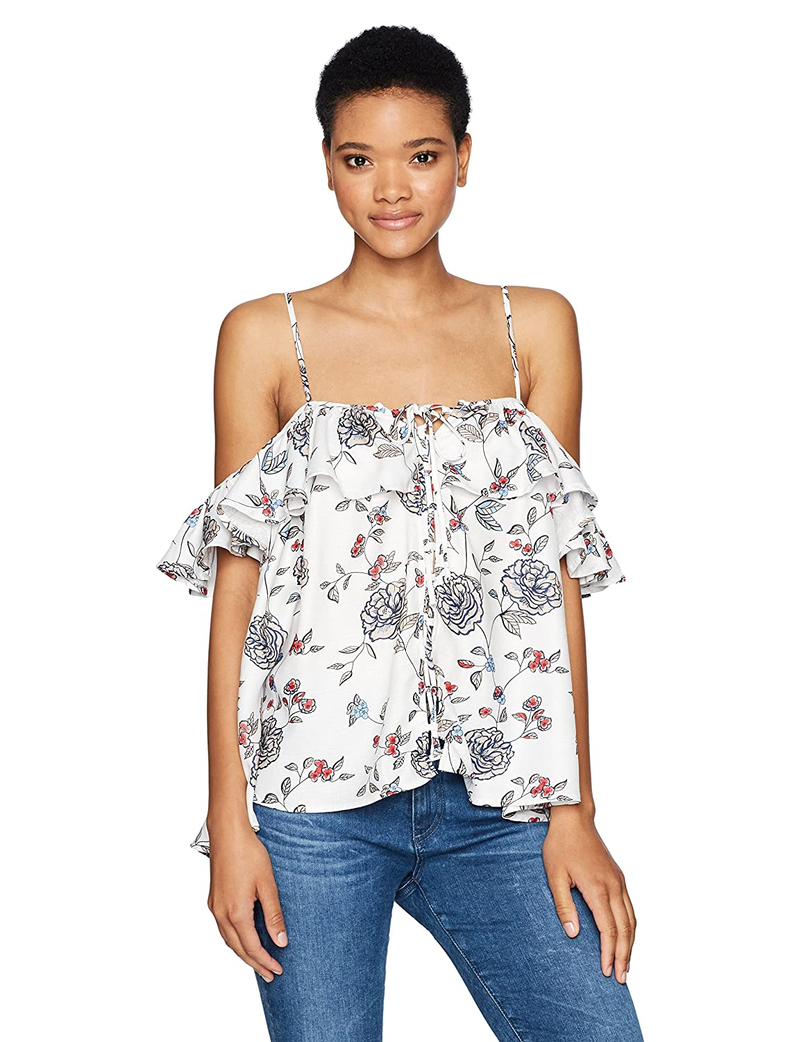 Lucca Couture Womens Front Lace Up Cold Shoulder Ruffle Top