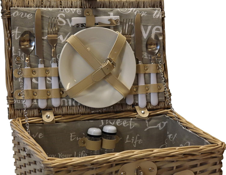 elbm/öbel Picknick Korb komplett Porzellan Geschirr 2 Personen Weidenkorb Picknickkorb Weidenholz Weidenpicknickkorb Picknickset