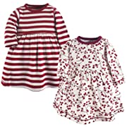 Touched by Nature Baby Girls' Organic Cotton Dress, 2 Pack, Berry Branch, 0-3 Months (3M)