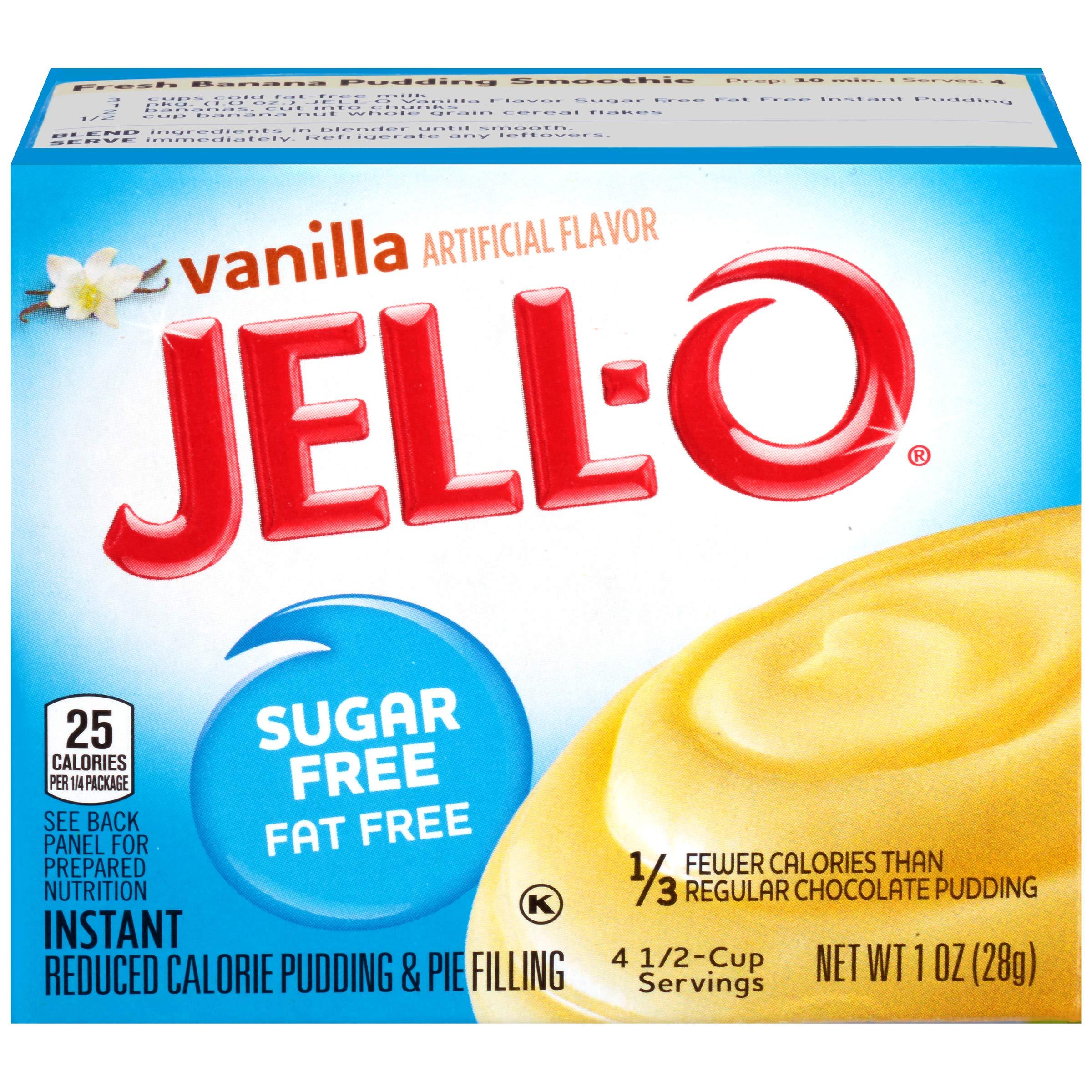 Jell-O Vanilla, Sugar Free-Fat Free Instant Pudding & Pie Filling, 1 oz