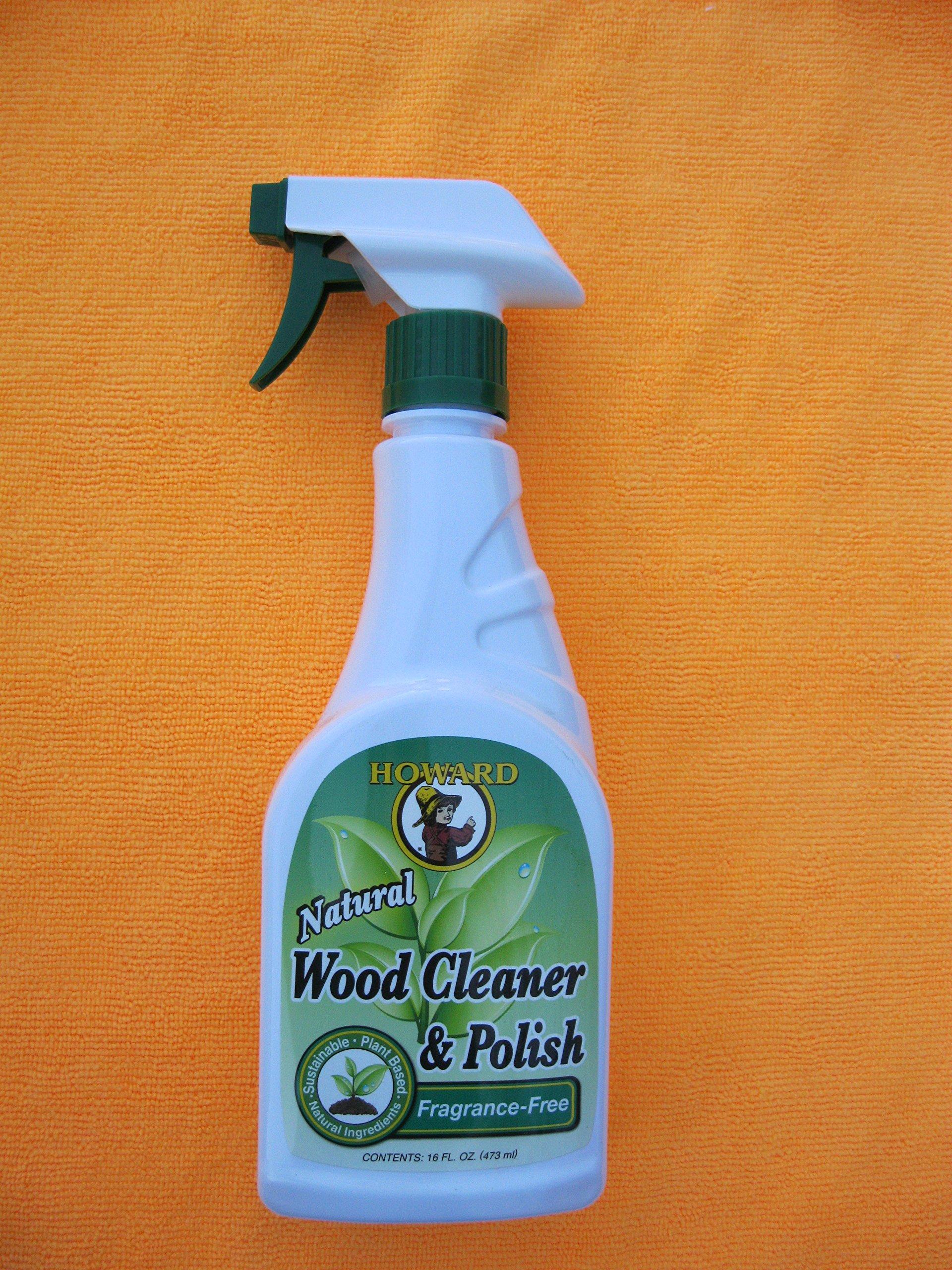 Howard All Natural Wood Furniture Cleaner and Polish - Fragrance Free Natural Wood Polish with Microfiber Cloth (Orange)