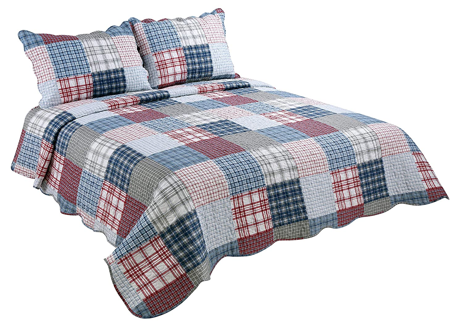 Marina Decoration Rich Printed 3 Pieces Luxury Quilt Set with 2 Quilted Shams, Multi Colors Plaid, Blue, Red, Gray and White Color, King Size