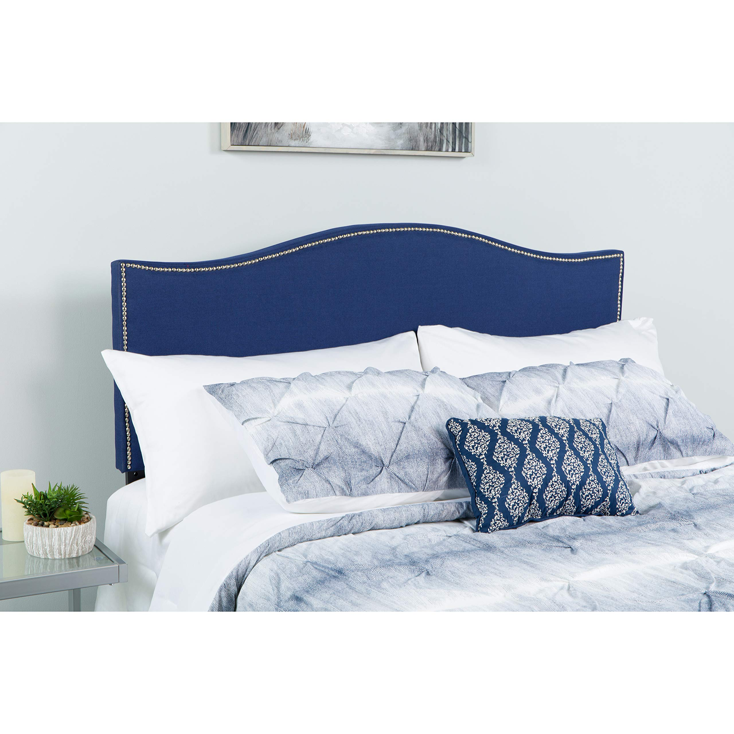 Flash Furniture Lexington Upholstered Twin Size Headboard with Accent Nail Trim in Navy Fabric - HG-HB1707-T-N-GG by Flash Furniture
