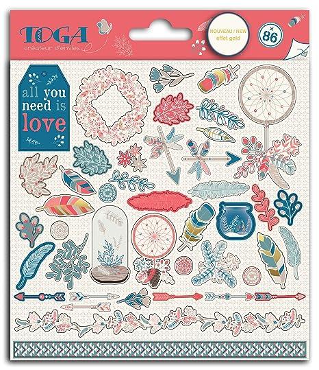 Toga Hygge 86 Stickers, papel, rouge-bleu-beige, dimensiones de una