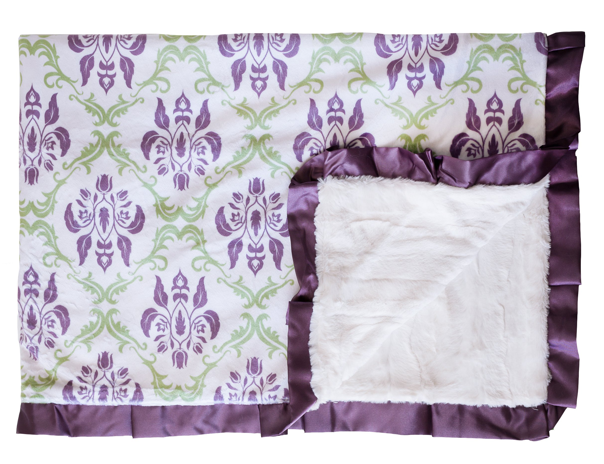 Minky Couture Printed Premium Blanket - Soft, Warm, Cozy, Comfortable, Perfect Gift! (Monster, Paris Sage/Purple)