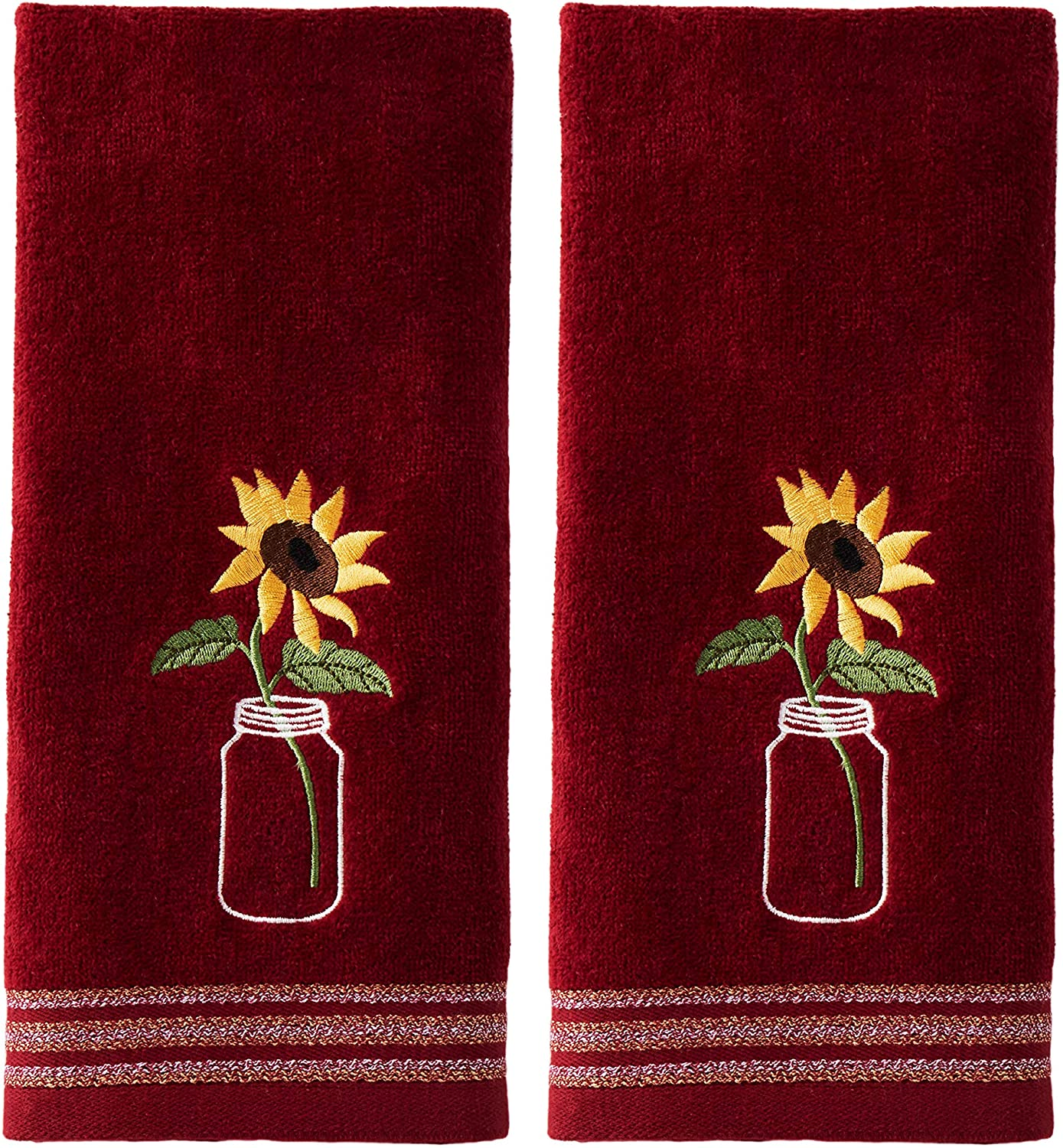 SKL Home by Saturday Knight Ltd. Sunflower In Jar 2 Pc Hand Towel Set, Wine 2 Count