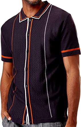 Men's Short Sleeve Knit Sports Shirt - Modern Polo Vintage Classics: Multi Stripes