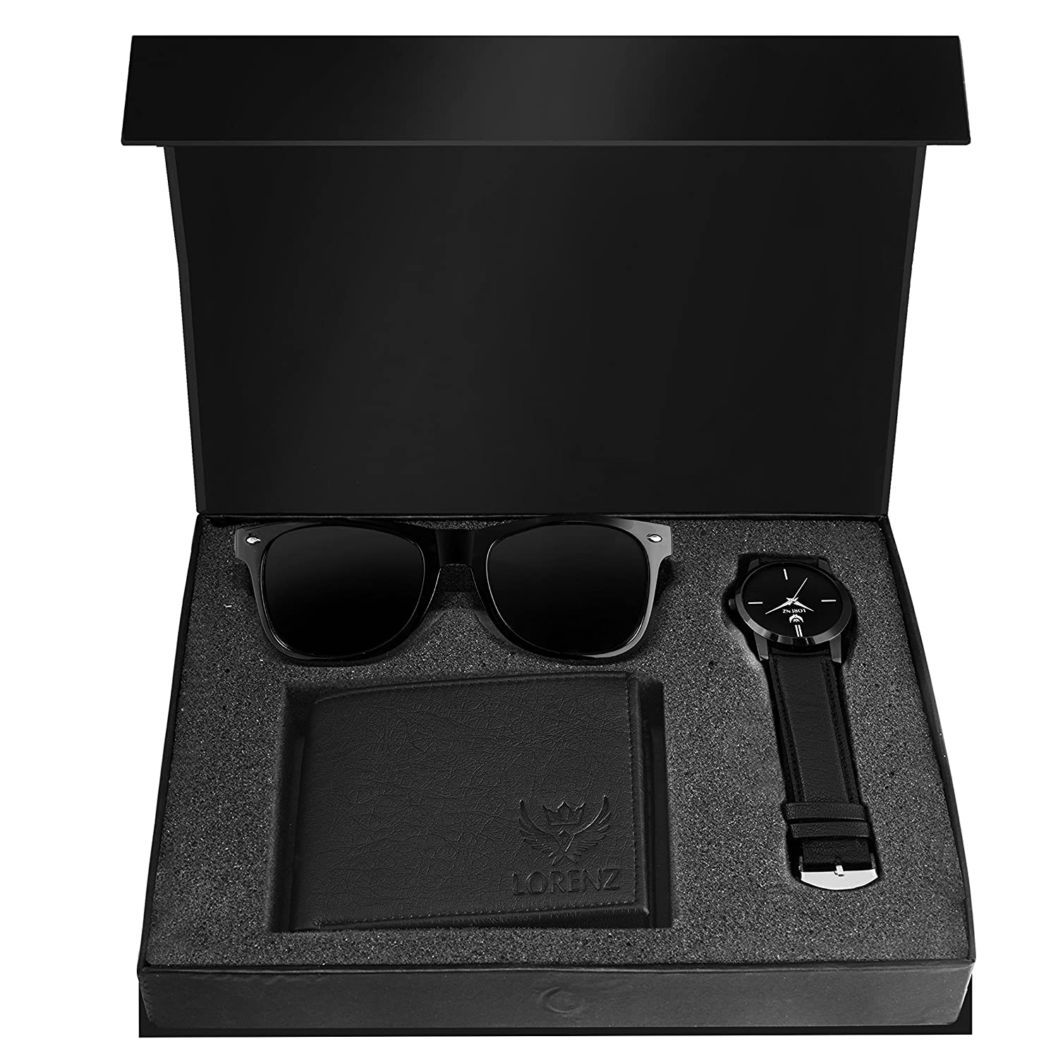 LORENZ Combo Of Black Men's Wallet,Sunglasses & Black Dial Watch