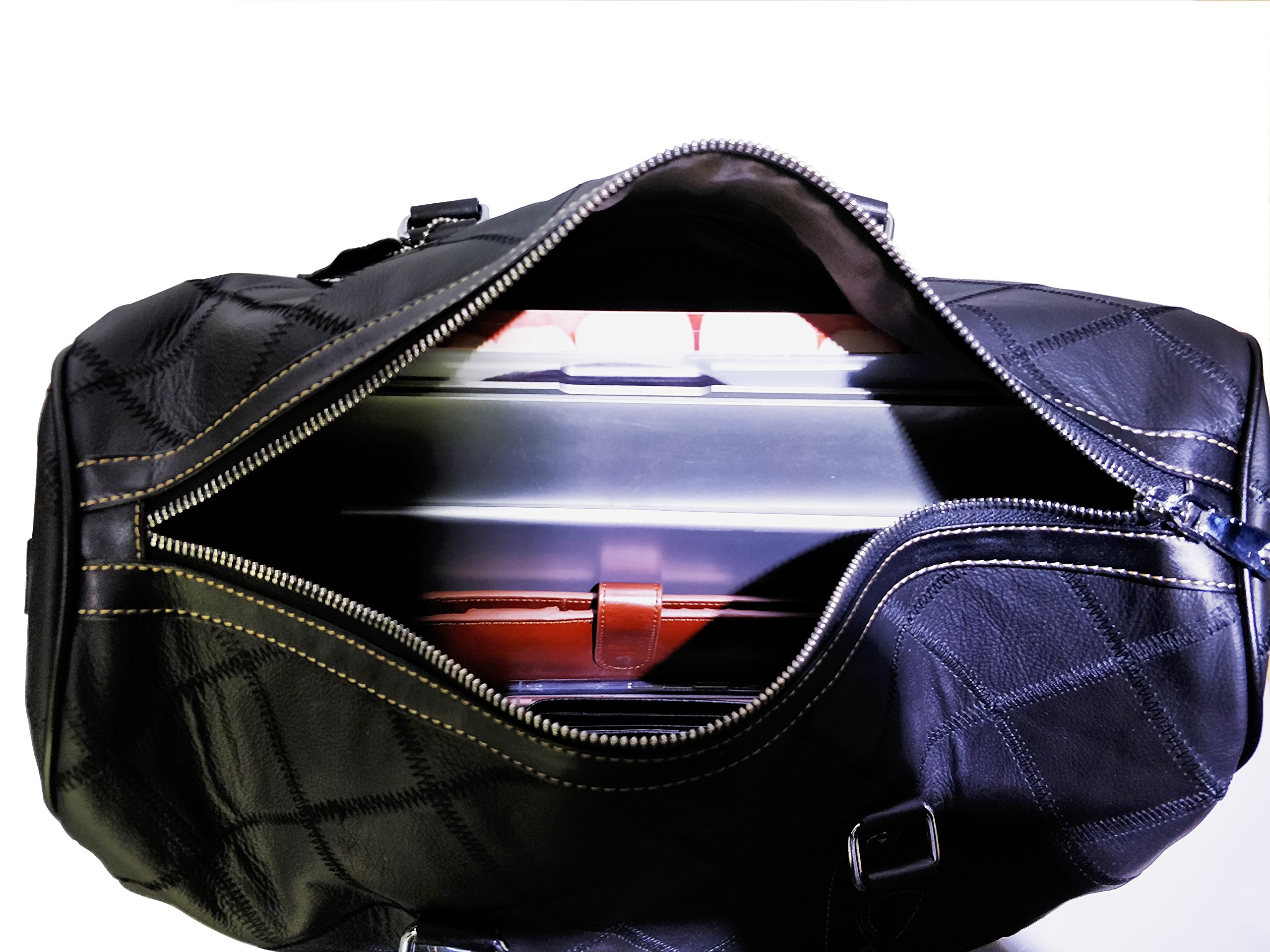 Leather Travel Duffel Bag Weekender Overnight Carry On Luggage Luxurious Vintage Leather Perfect Fit to Airplane Underseat (Black) by Gionar (Image #7)