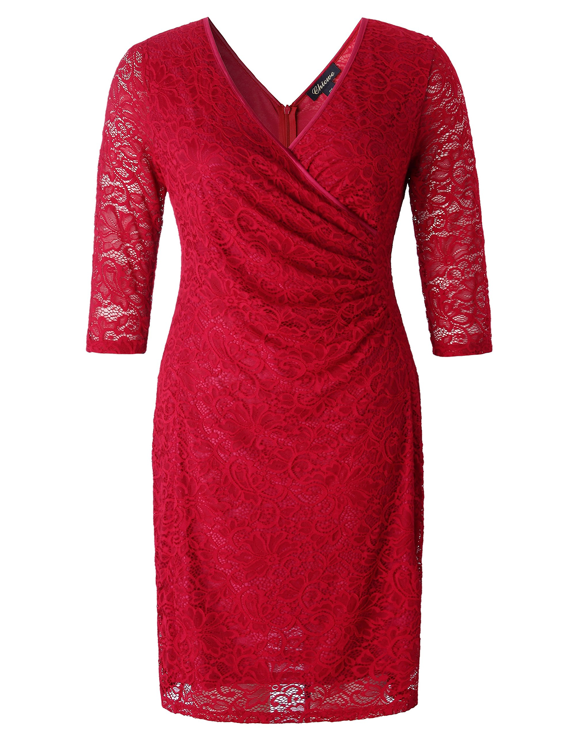 Chicwe Women's Plus Size Stretch Floral Lace Wrap Dress with Ruched Detailing - Knee Length Casual Party Cocktail Dress 1X