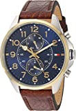 Tommy Hilfiger Men's Quartz Stainless Steel and Leather Casual Watch, Color:Brown (Model: 1791275)