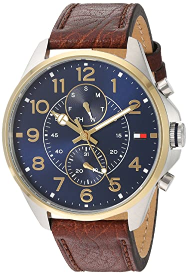 Amazon.com: Tommy Hilfiger Mens Quartz Stainless Steel and Leather Casual Watch, Color:Brown (Model: 1791275): Watches
