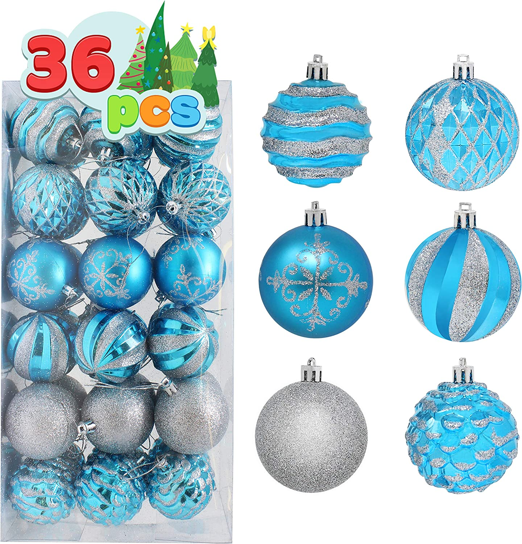 36Pcs Clear Plastic Christmas Balls Baubles Sphere Fillable Xmas Tree Ornament