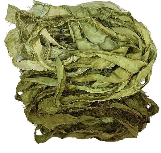 100g handspun yarn Sari silk yarn knitting crochet golden knit UK crafts