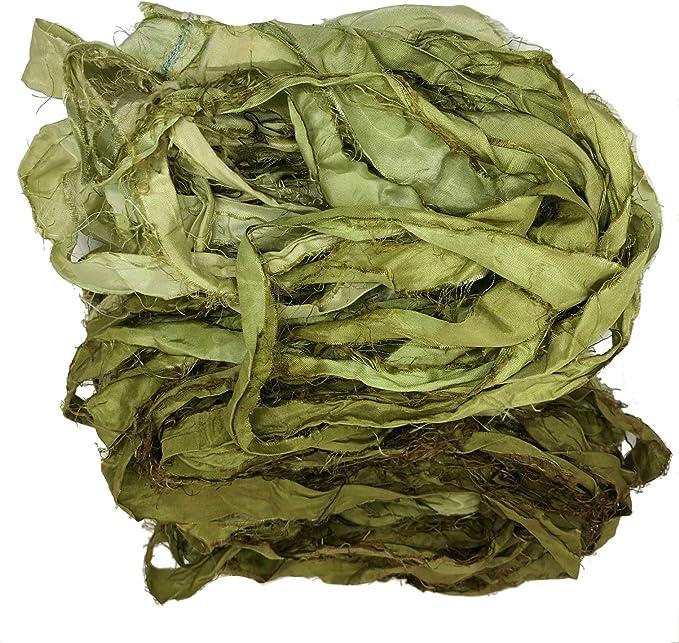 pura seda reciclados Sari de seda lazo 50g madeja punto. cinta de color rosa tejido
