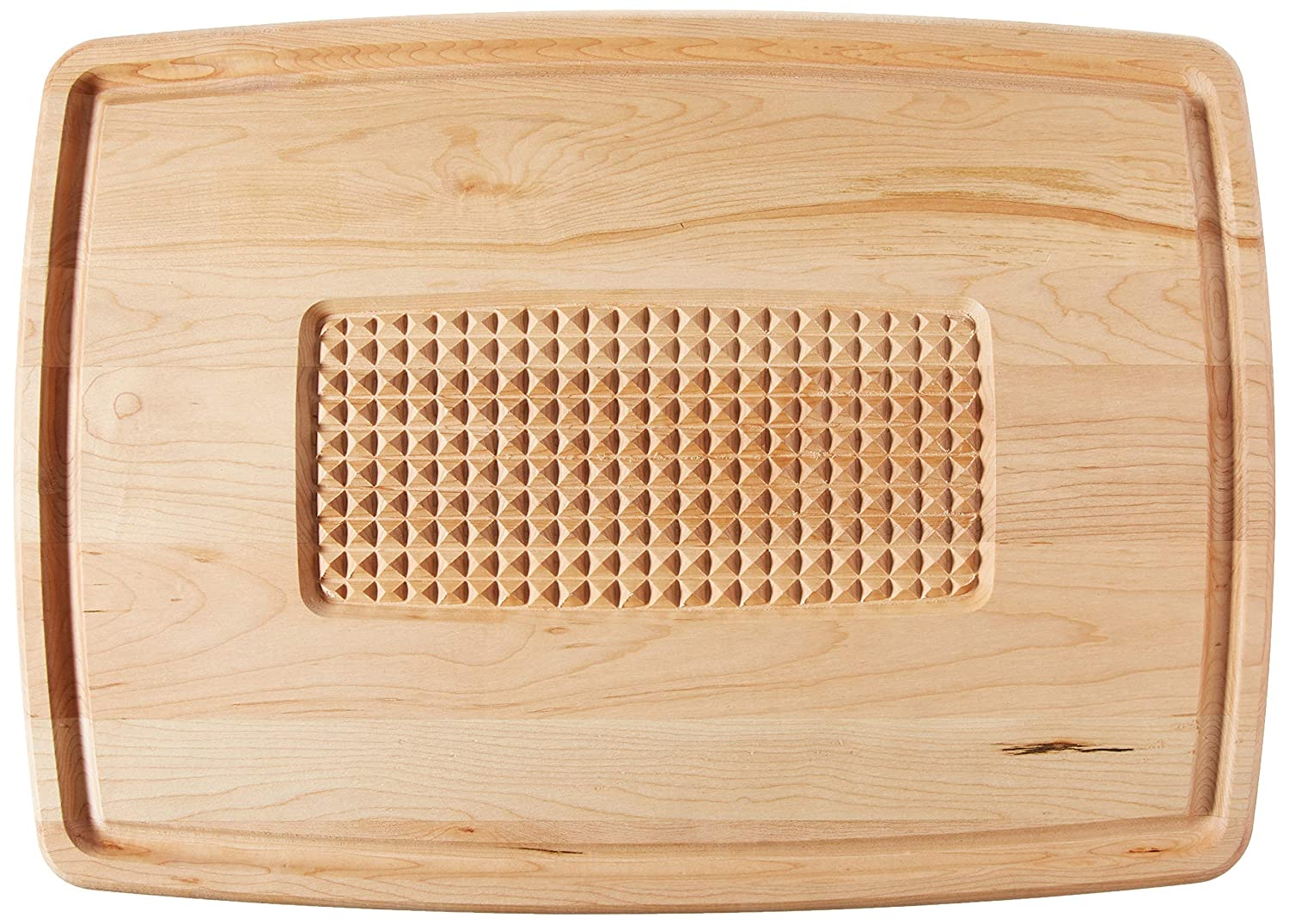 Snow River USA 7V03504 Hardwood Maple Pyramid Cutting Carving Board with Juice Groove 15 x 21 x .75