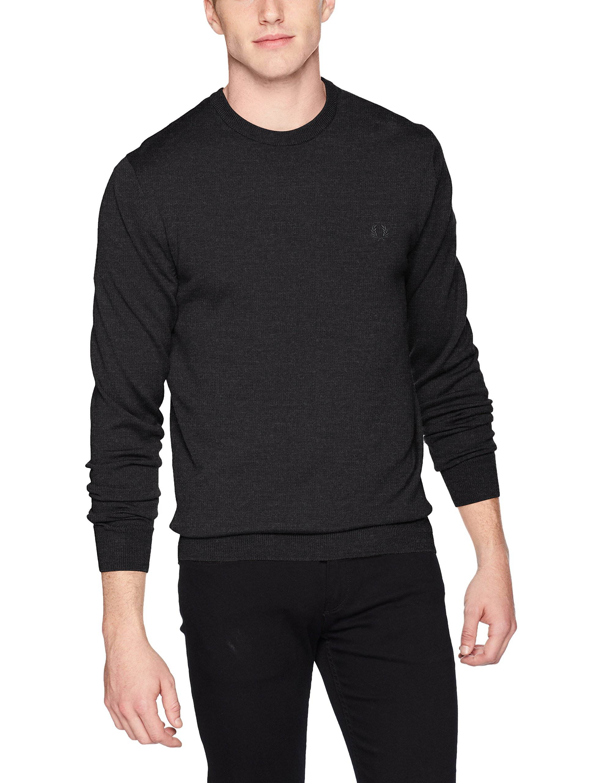 Fred Perry Men's Classic Crew Neck Sweater, Black Marl, X-Large