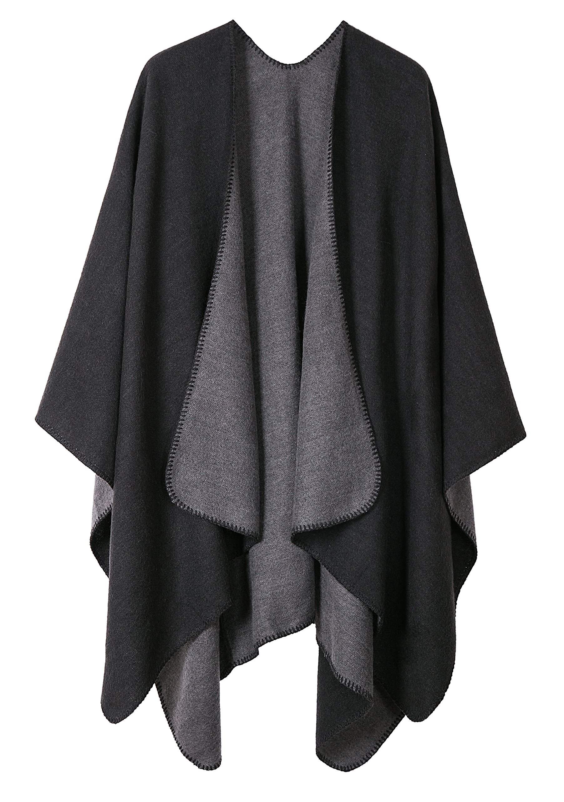 Warm Shawls And Wraps Open Front Cardigan Elegant Solid Color Poncho Cape Coat (Black)