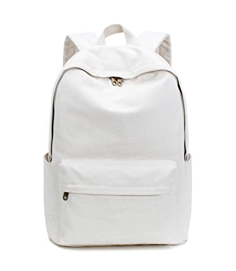 Karitco Basic Plain Canvas Laptop Backpack with Brass Zipper (Canvas Beige) b5ea63592a3bd