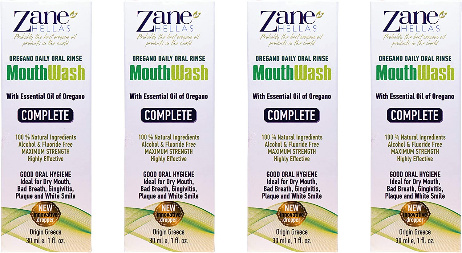 Zane Hellas MouthWash.Oral Rinse with Oregano Oil Power.Ideal for Gingivitis,Plaque,Dry Mouth,and Bad Breath. Alcohol and Fluoride Free.100% Herbal Solution.4 fl.oz.-120ml.Buy 3 get 1 Free.