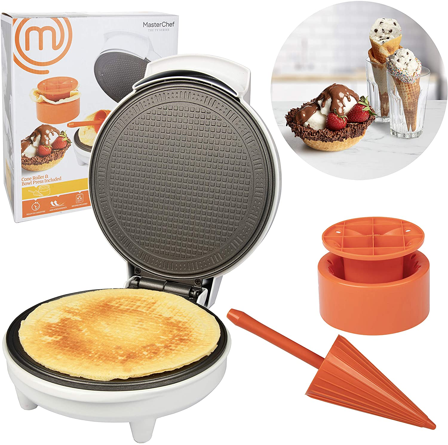 Chefmaster MasterChef Waffle Cone and Bowl Maker- Includes Shaper Roller and Bowl Press- Homemade Ice Cream Cone Baking Iron Machine, Fun Kitchen Appliance for Summer Parties & Gift Giving