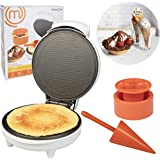 MasterChef Waffle Cone and Bowl Maker- Includes Shaper Roller and Bowl Press- Homemade Ice Cream Cone Baking Iron Machine, Fu