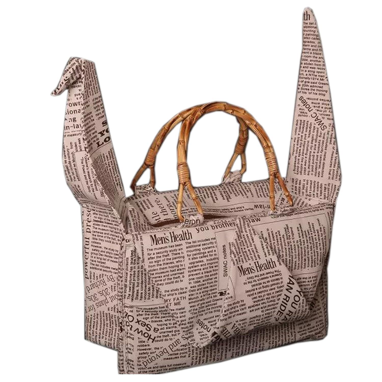 3b22e9e738b539 foldable thousand origami cranes type handbag / bamboo handle tote /  satchel: Handbags: Amazon.com