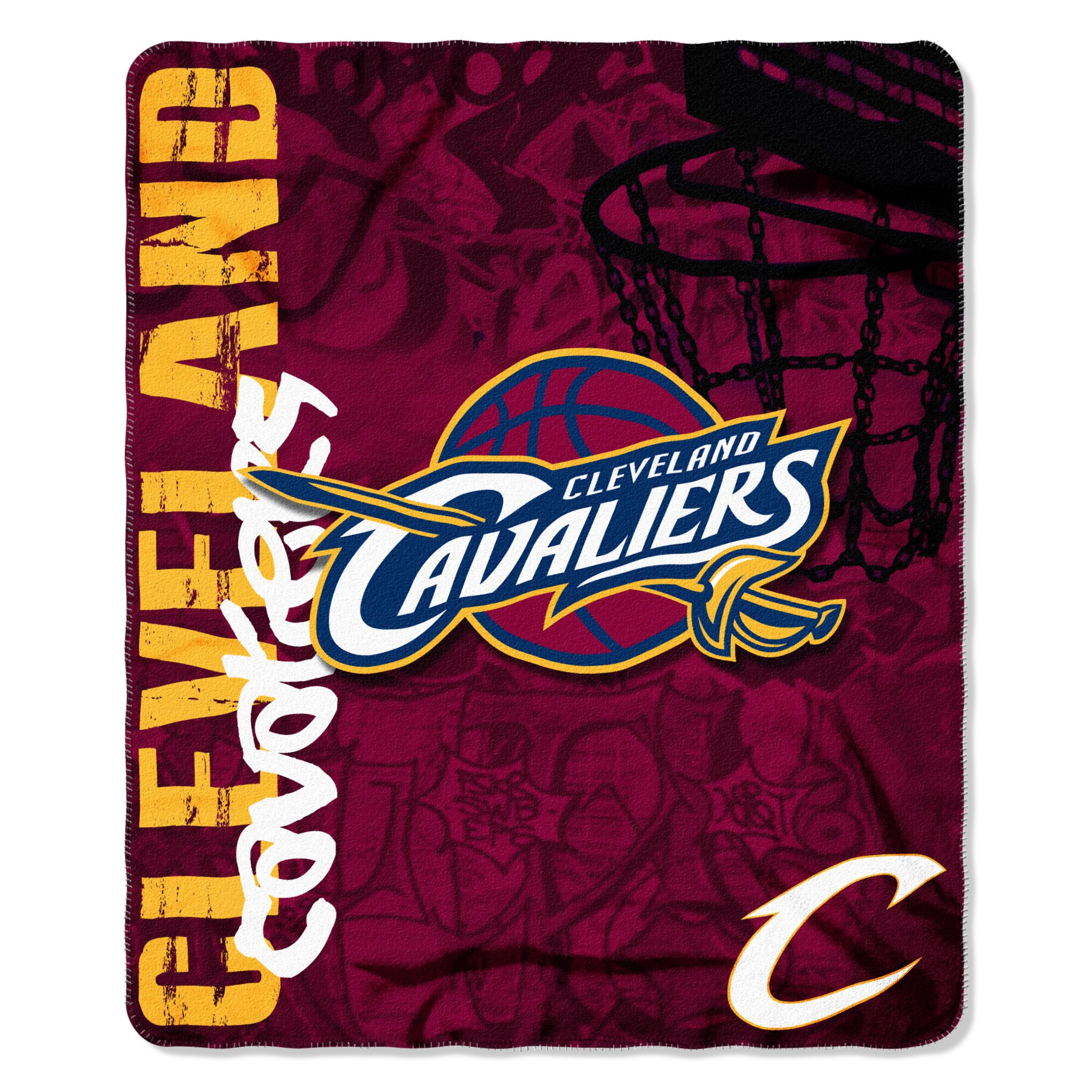 The Northwest Company NBA Cleveland Cavaliers Hard Knocks Printed Fleece Throw, 50-inch by 60-inch