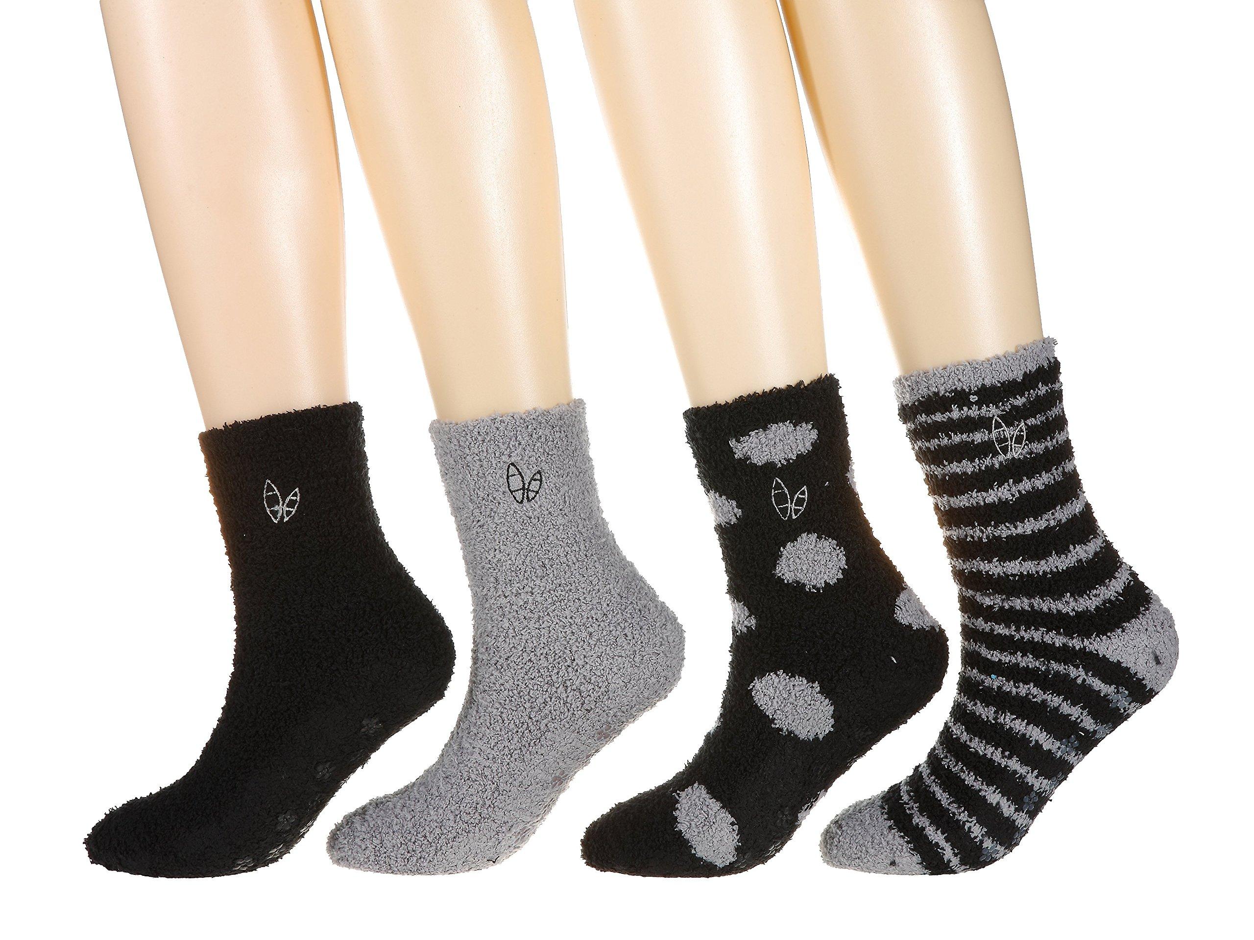 4-Pairs Womens Twin Boat Soft Anti-Skid Fuzzy Winter Socks, Set A10, 9-11