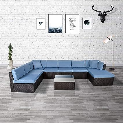 Amazon.com: Feelway - Juego de sofás de jardín de mimbre ...