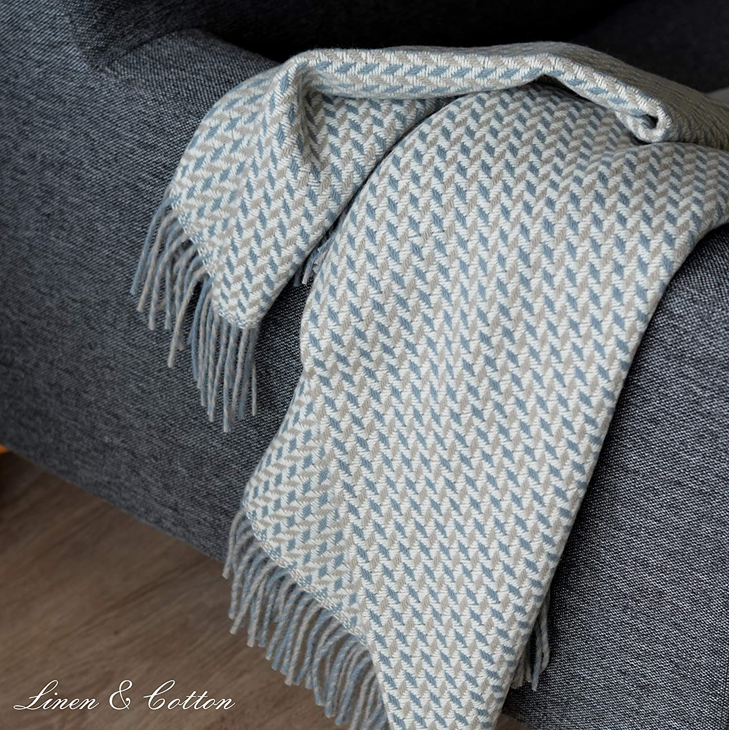 Linen & Cotton Manta Plaid de Sofá/Cama Valencia - 100% Lana ...