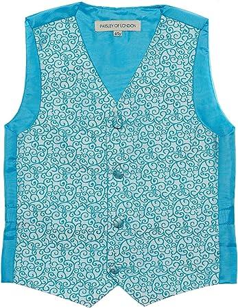 Paisley of London, Niño aguamarina chaleco, corbata & pañuelo set, remolino chalecos, 3m - 14 años