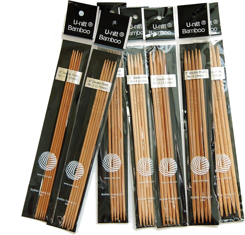"8/"" bamboo Double point knitting needle US 0 1 2 3 4 5 6 7 8 9 10 10.5 11 13 15"