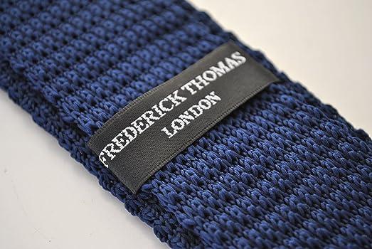 Frederick Thomas corbata de punto azul marino y blanco de lunares