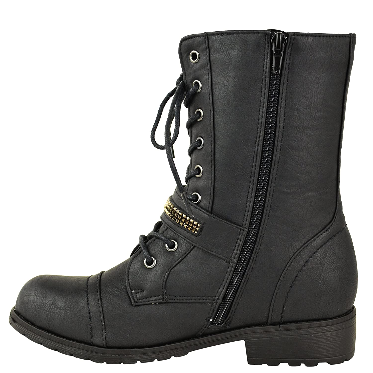 Fashion Thirsty Womens Flat Low Heel Lace Up Army Military Biker Zip Ankle Boots Size