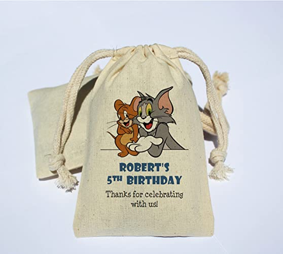 Personalized Cotton Muslin Birthday Party Favor Bag