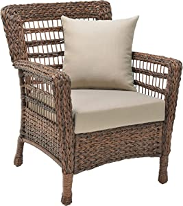 W Unlimited Modern Concept Faux Sea Grass Resin Rattan Patio Chair, Dark Brown